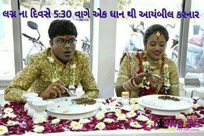 One couple did ayambil of one dhravya on the day of their wedding.